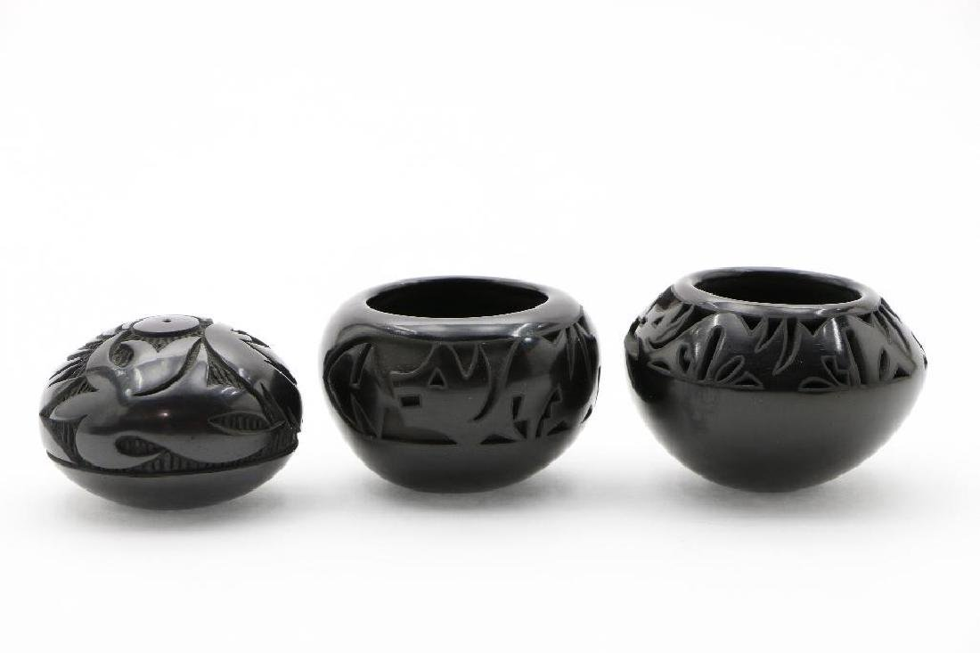 Three Pueblo carved blackware miniature pottery jars - 2