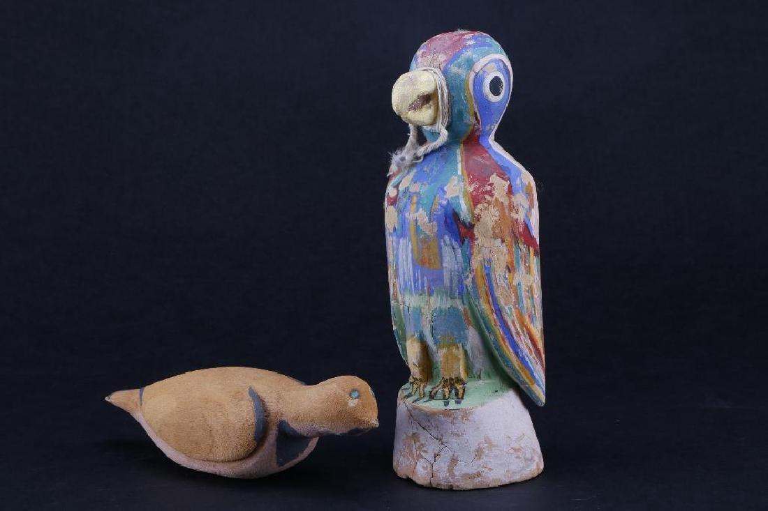 Two Hopi wood bird effigies