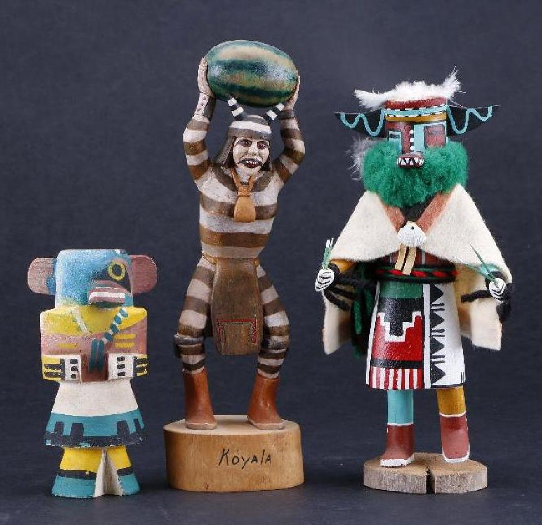 Three Hopi katsina dolls