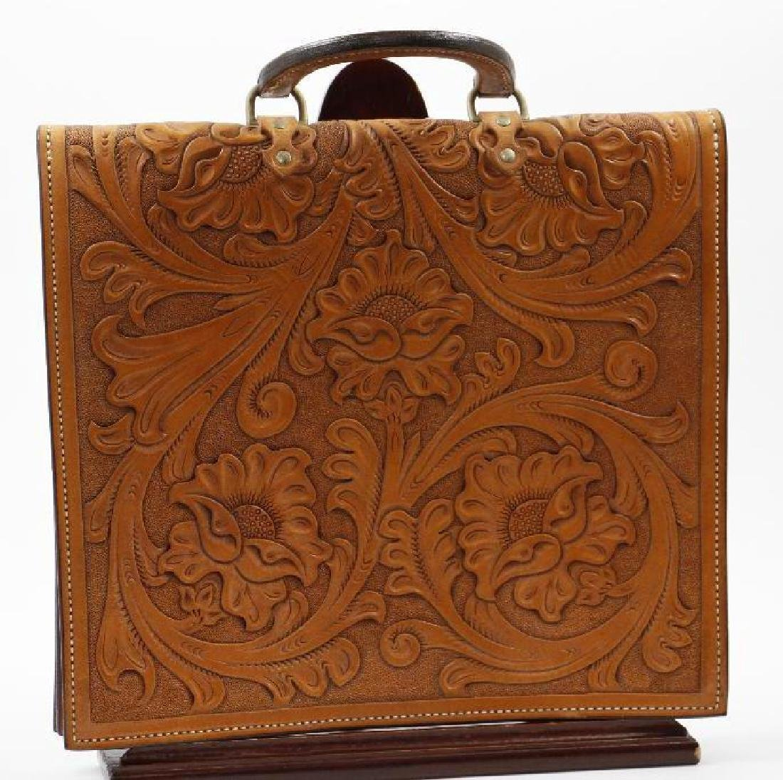 Hand-tooled leather briefcase - 2