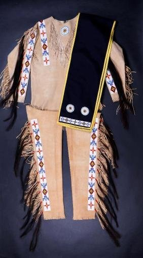 Contemporary Plains-style beaded man's outfit