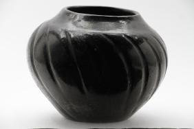 Santa Clara blackware pottery squash jar