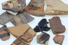 Group of ancient Southwest pottery shards