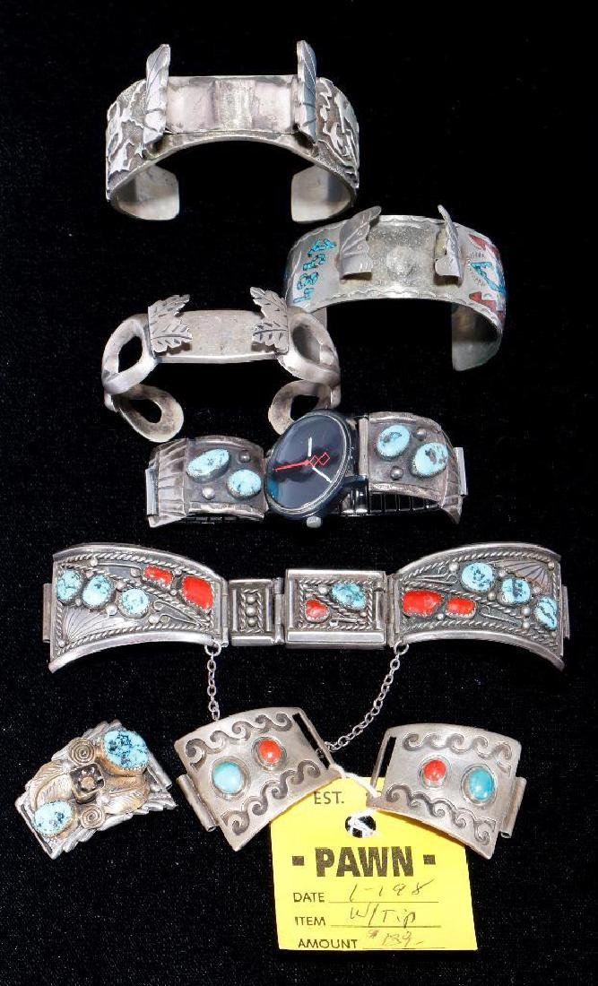 SOUTHWEST TURQUOISE SILVER WATCH CUFFS