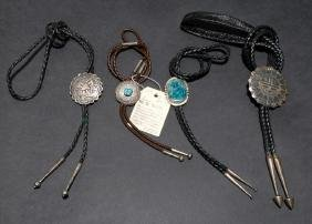 NAVAJO & ZUNI TURQUOISE SILVER BOLO TIES