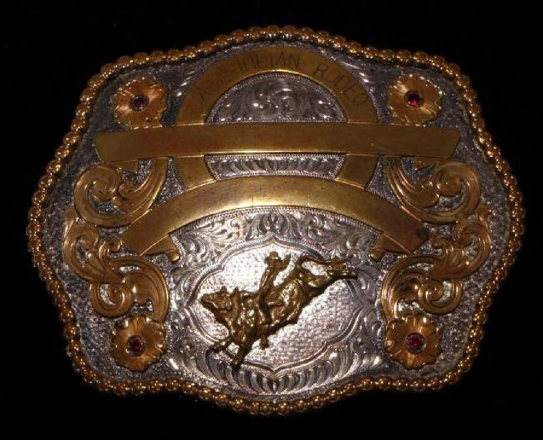 INDIAN RODEO STERLING BELT BUCKLE
