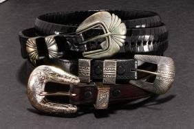 SOUTHWEST SILVER & PLATED LEATHER BELTS