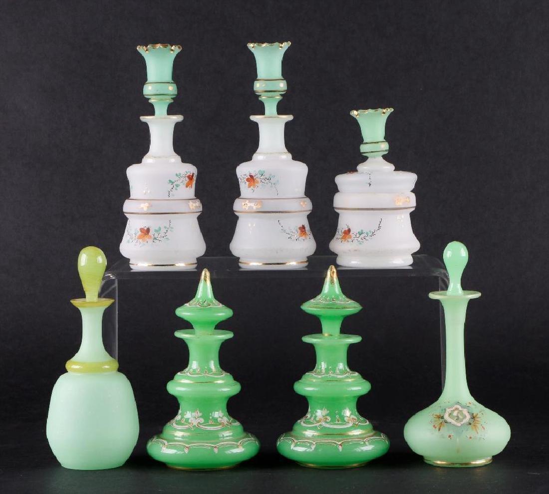 6 BOHEMIAN COLORED GLASS DRESSER BOTTLES & DRESSER JAR