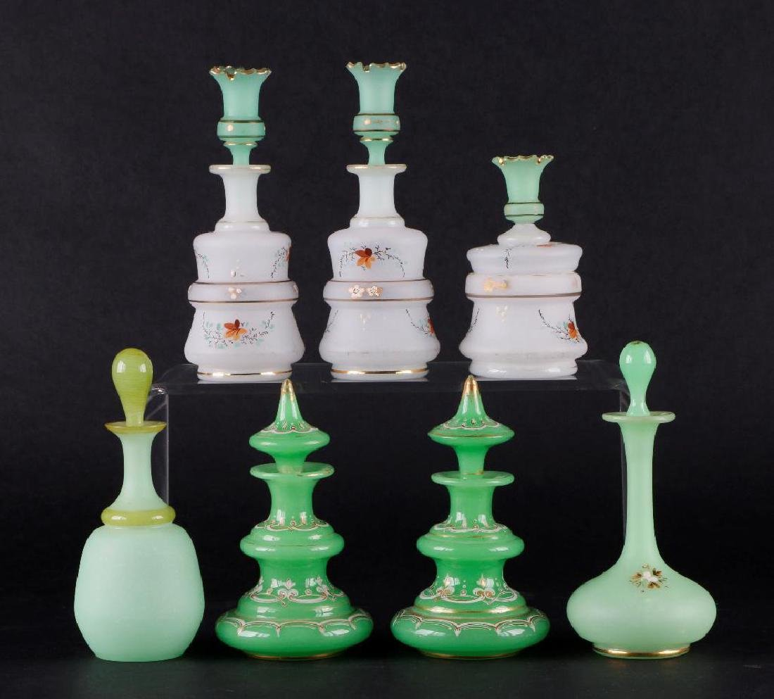 6 BOHEMIAN COLORED GLASS DRESSER BOTTLES & DRESSER JAR - 3