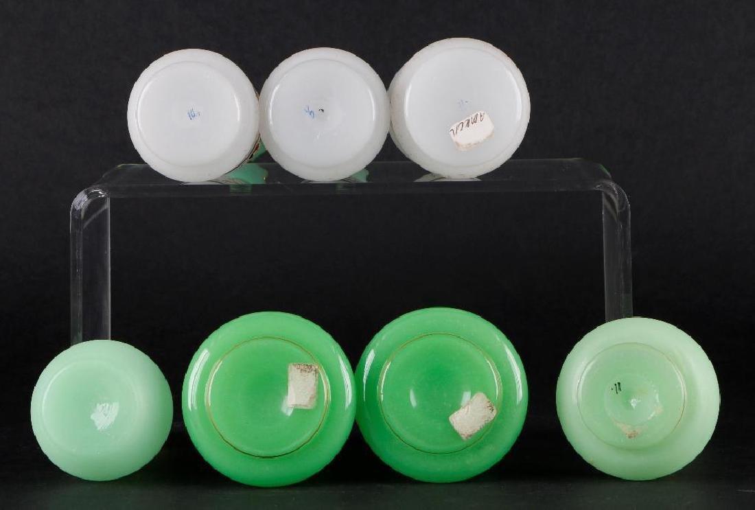 6 BOHEMIAN COLORED GLASS DRESSER BOTTLES & DRESSER JAR - 4