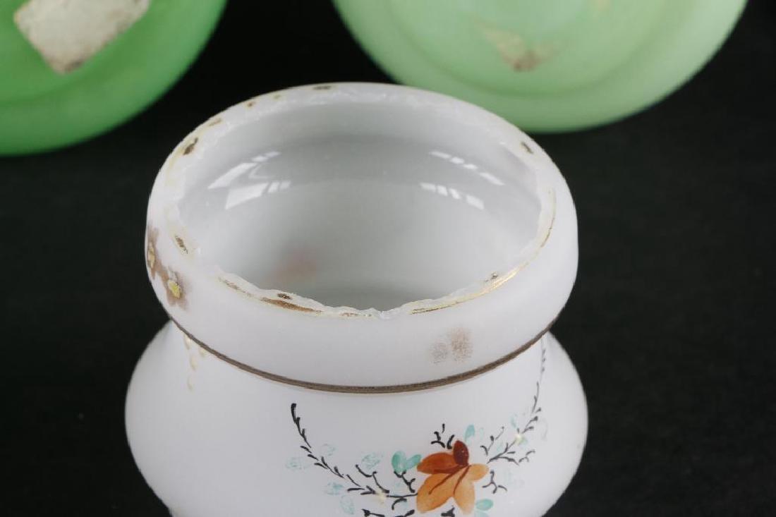 6 BOHEMIAN COLORED GLASS DRESSER BOTTLES & DRESSER JAR - 5