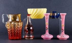 6 PIECES VICTORIAN COLORED GLASS