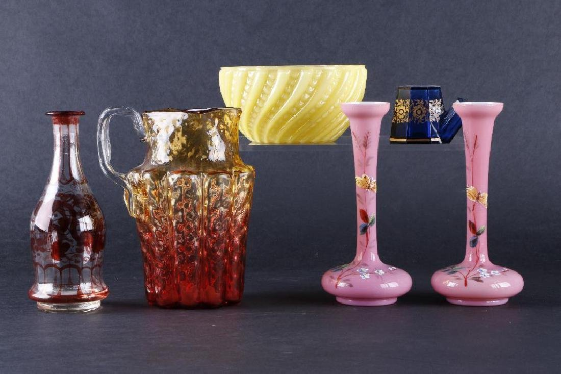 6 PIECES VICTORIAN COLORED GLASS - 2