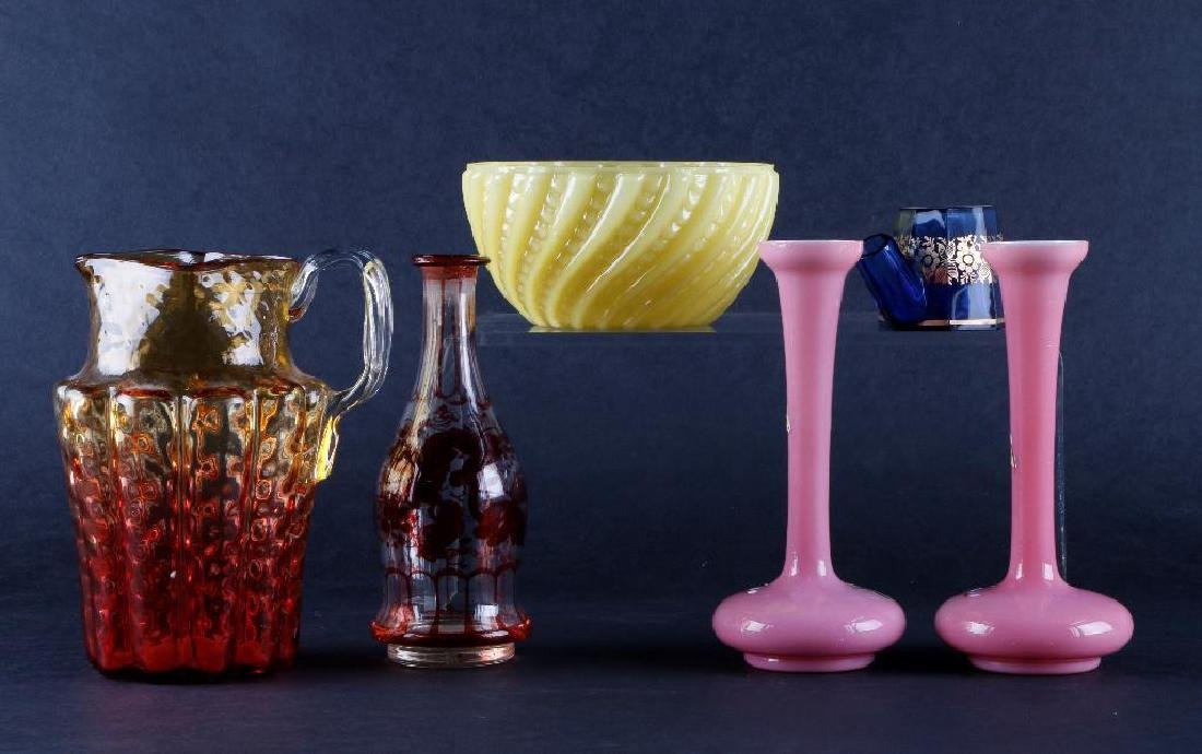 6 PIECES VICTORIAN COLORED GLASS - 3