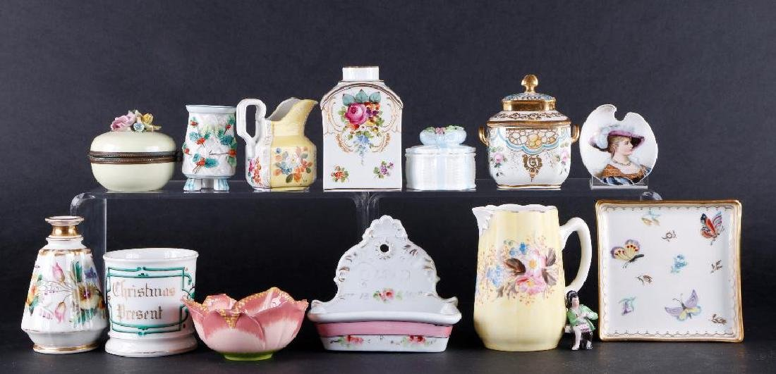 14 PIECES EUROPEAN DECORATIVE PORCELAIN