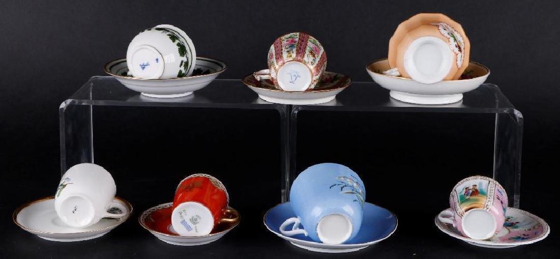 7 EUROPEAN PORCELAIN INDIVIDUAL CUPS & SAUCERS - 4