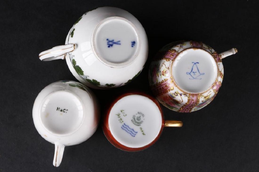 7 EUROPEAN PORCELAIN INDIVIDUAL CUPS & SAUCERS - 5