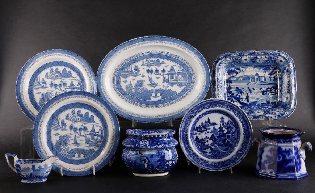 8 PIECES STAFFORDSHIRE BLUE & WHITE POTTERY
