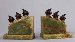 PAIR GERMAN ART DECO ONYX  BRONZE BOOKENDS