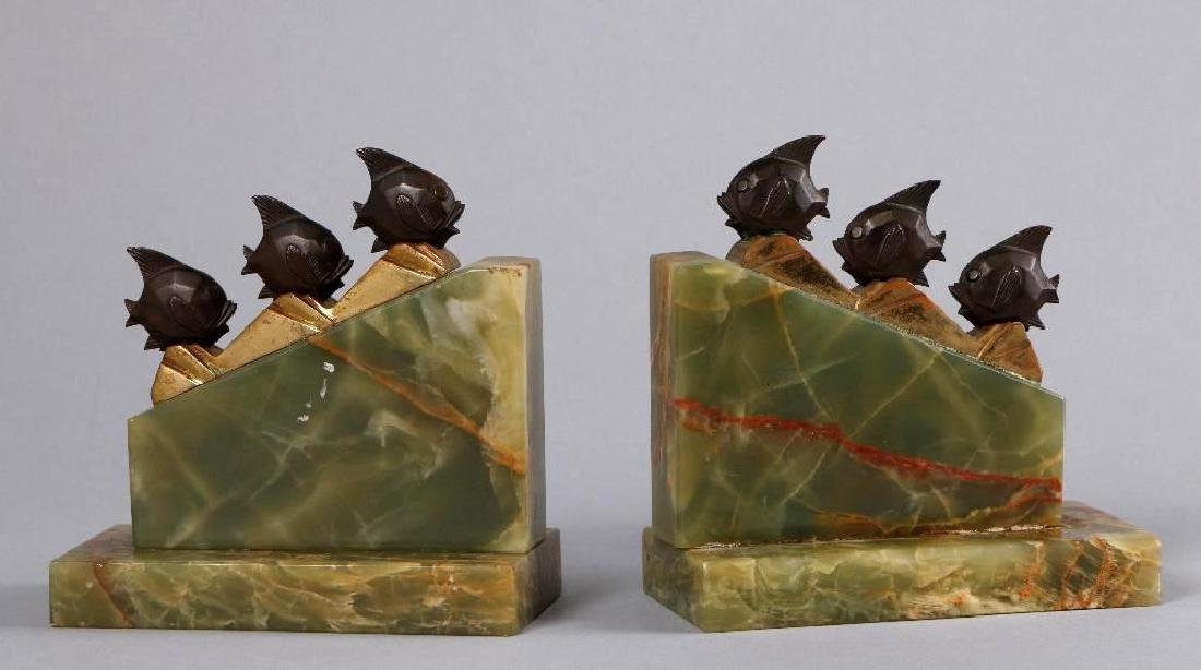 PAIR GERMAN ART DECO ONYX & BRONZE BOOKENDS
