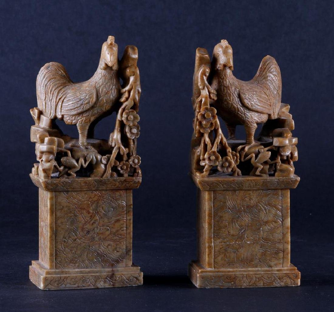 PAIR OF CHINESE CARVED SOAPSTONE ROOSTER