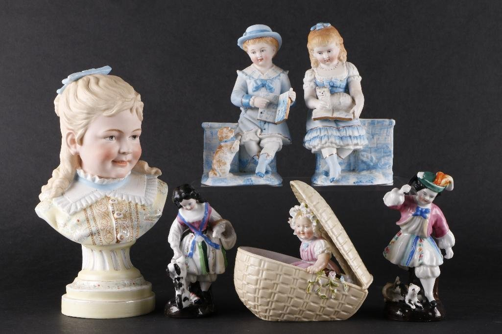 6 GERMAN BISQUE OR GLAZED PORCELAIN FIGURES