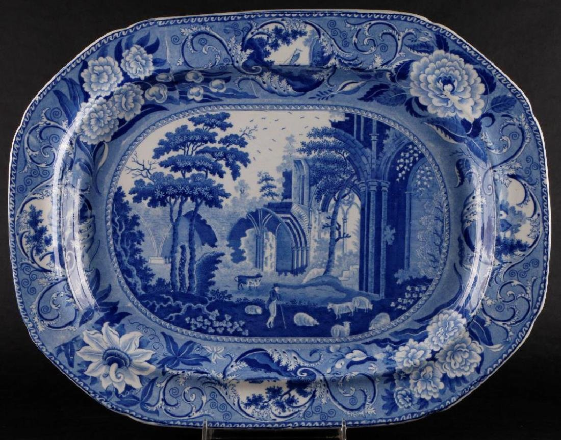 STAFFORDSHIRE BLUE & WHITE LARGE PLATTER