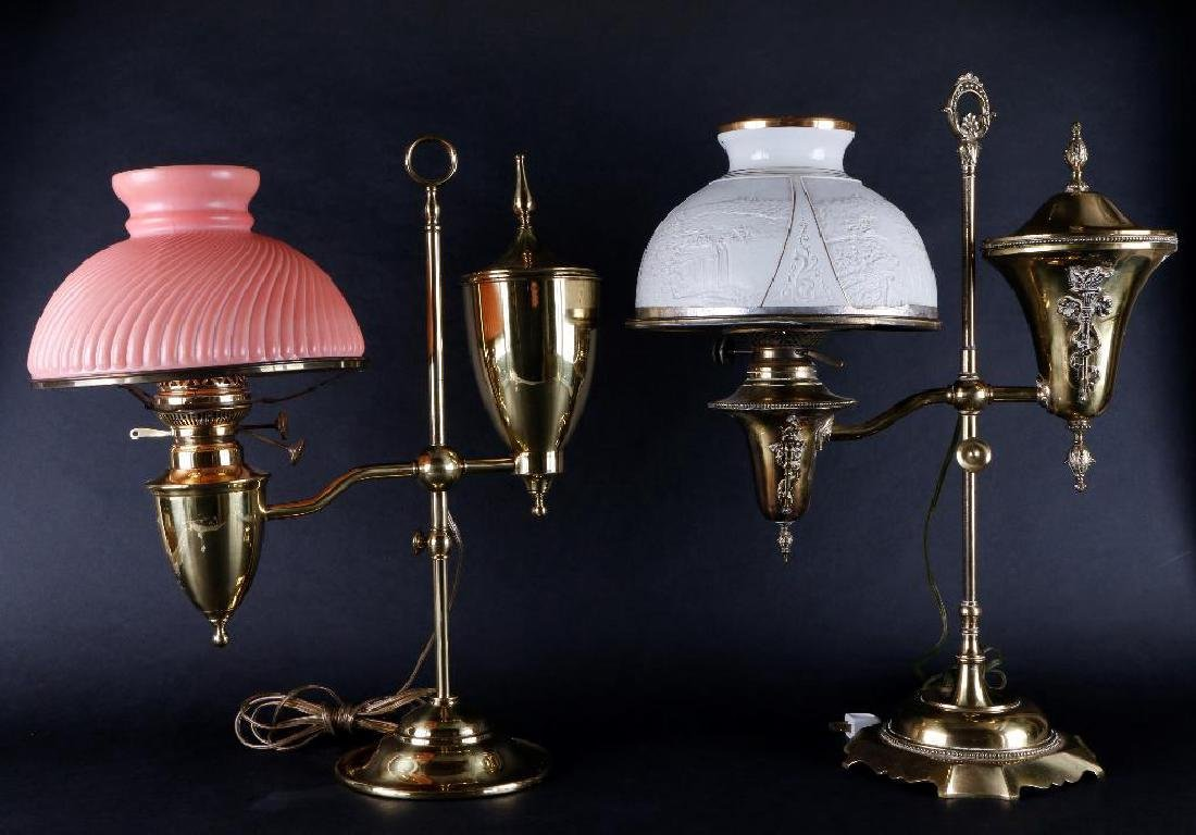 TWO VICTORIAN BRASS STUDENT OIL LAMPS & SHADES