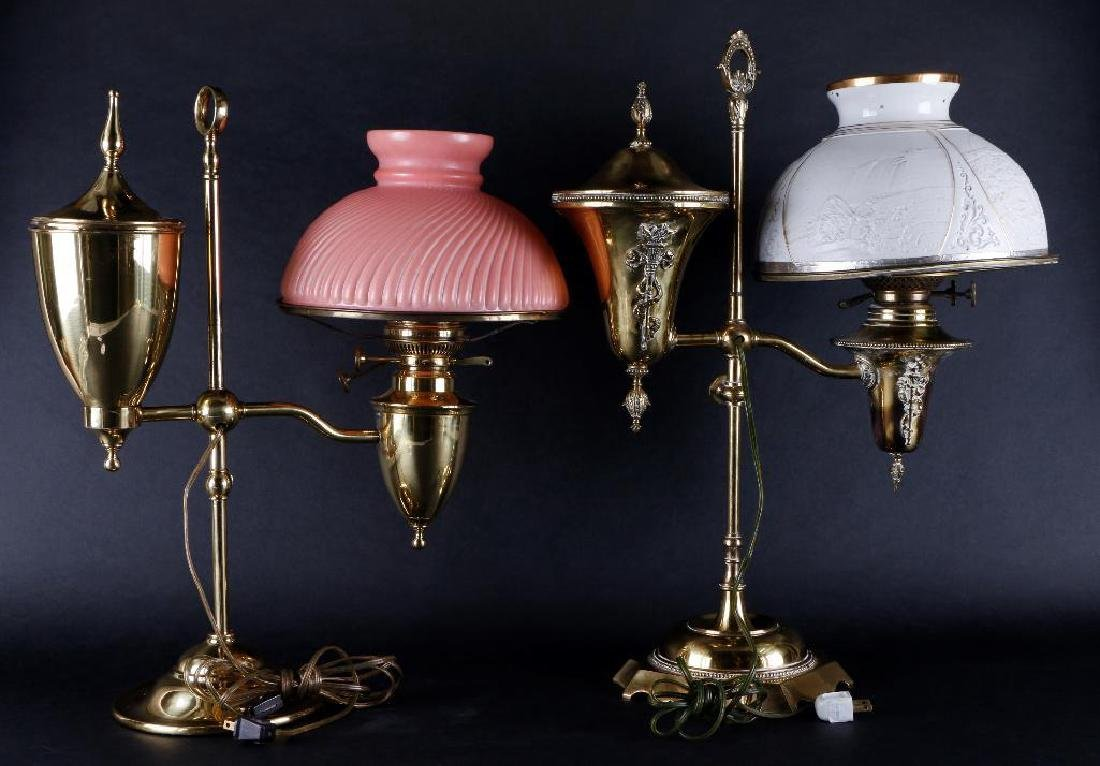 TWO VICTORIAN BRASS STUDENT OIL LAMPS & SHADES - 2
