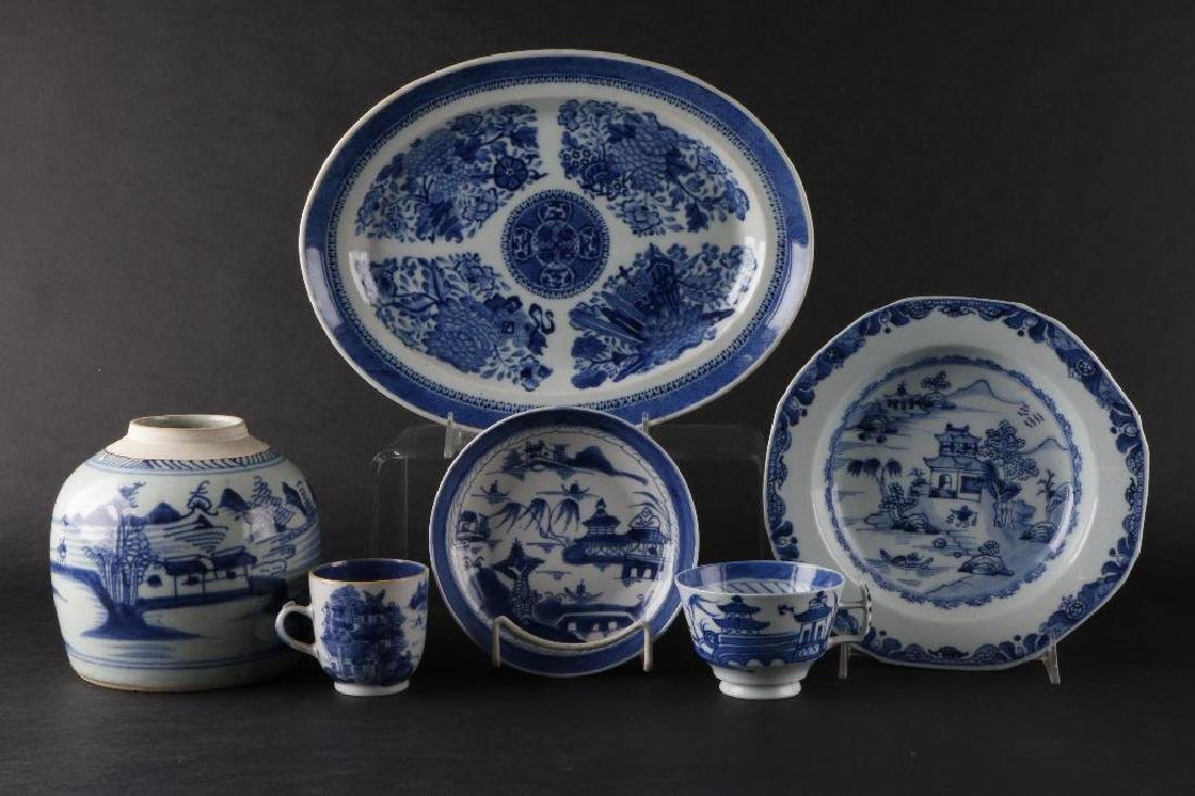 6 PIECES CHINESE EXPORT BLUE & WHITE PORCELAIN