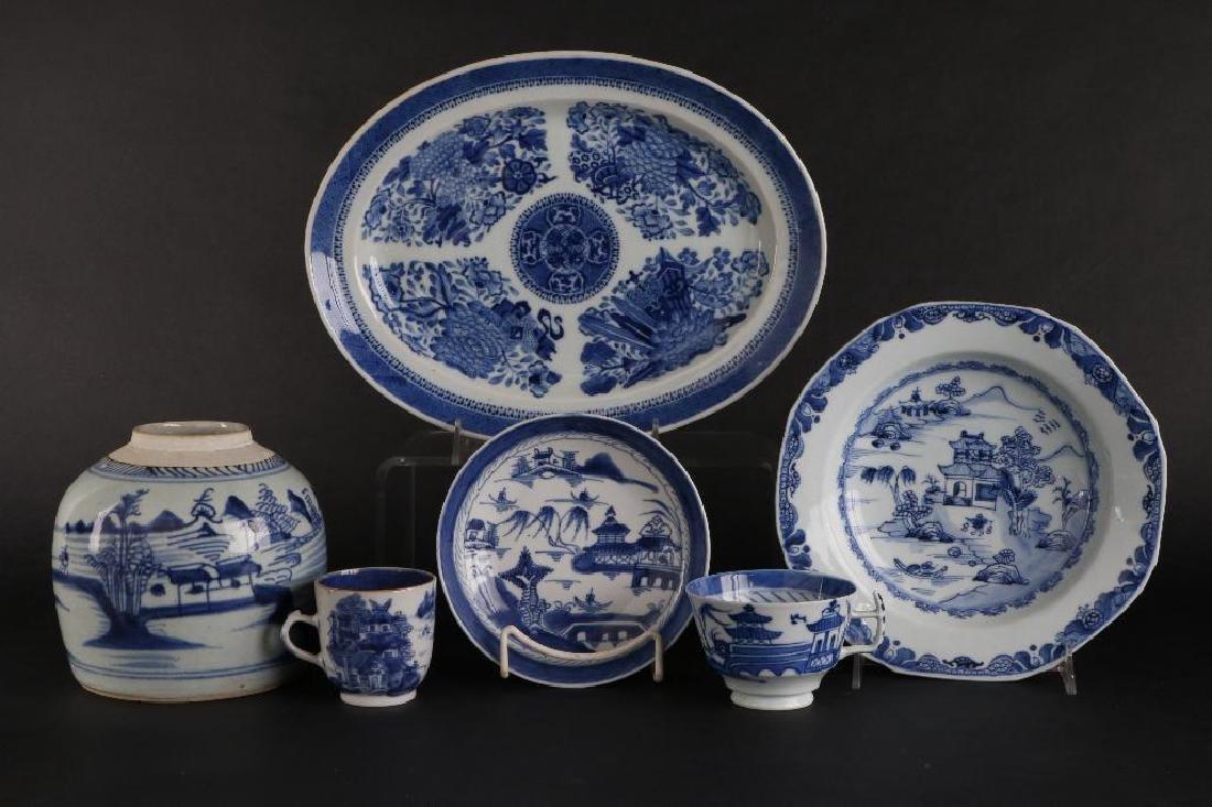 6 PIECES CHINESE EXPORT BLUE & WHITE PORCELAIN - 2