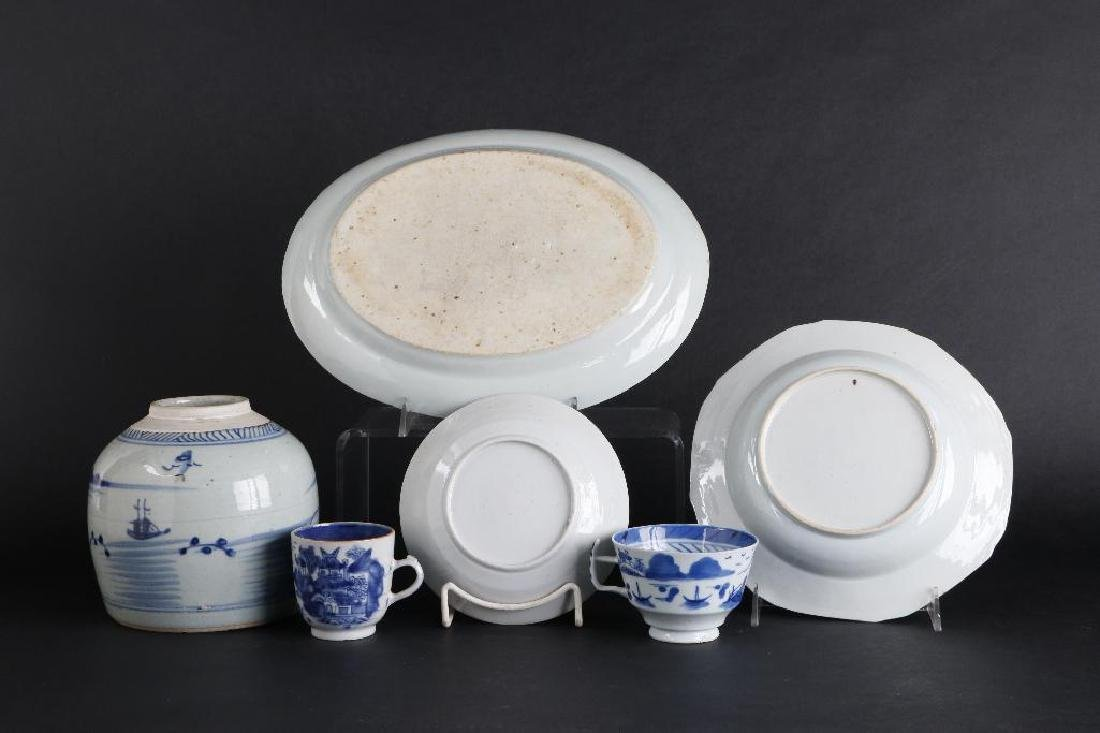 6 PIECES CHINESE EXPORT BLUE & WHITE PORCELAIN - 6
