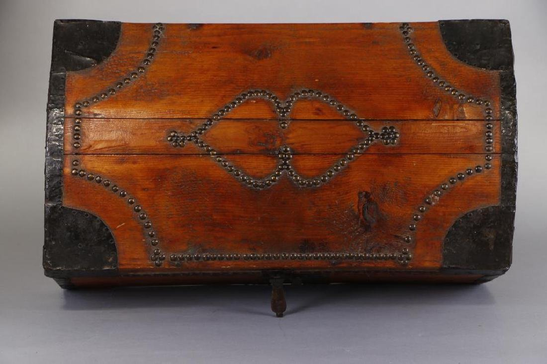 AMERICAN METAL MOUNTED & BRASS TACK DECORATED TRUNK - 10