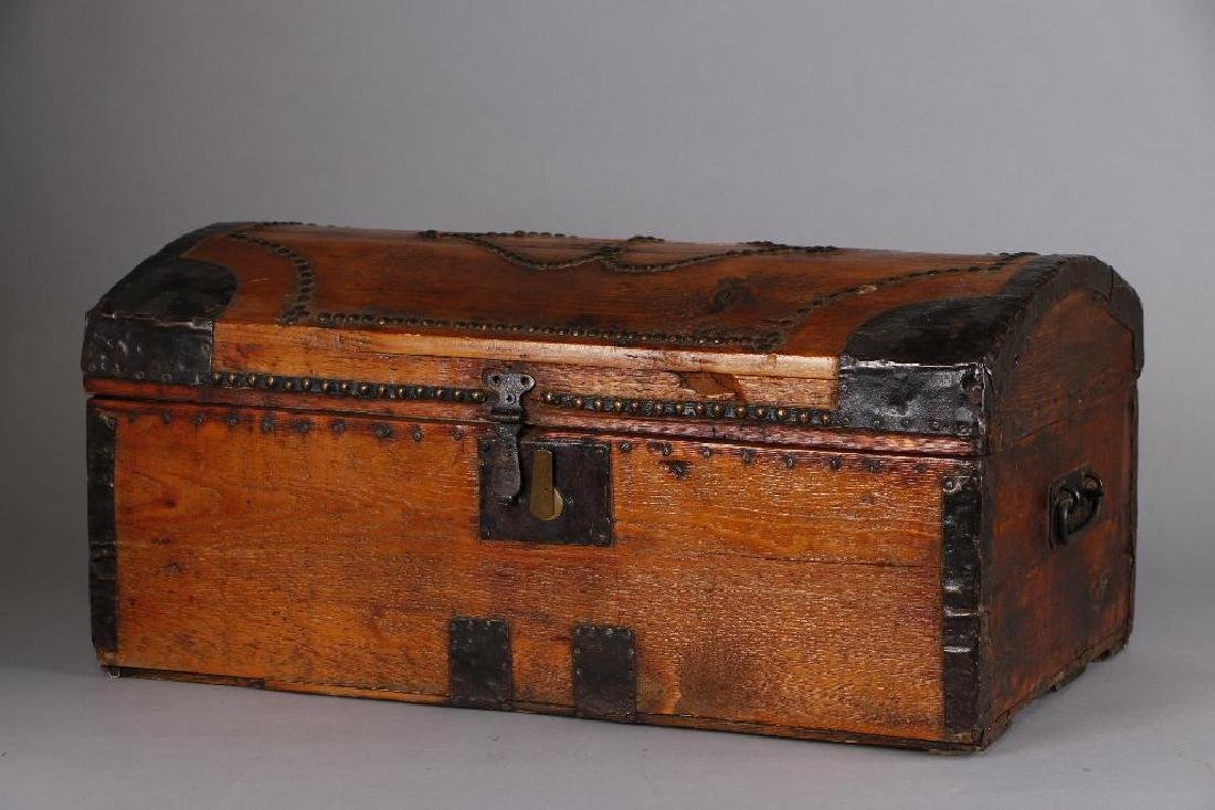 AMERICAN METAL MOUNTED & BRASS TACK DECORATED TRUNK