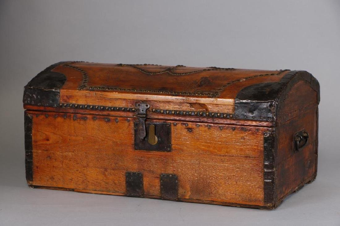 AMERICAN METAL MOUNTED & BRASS TACK DECORATED TRUNK - 2