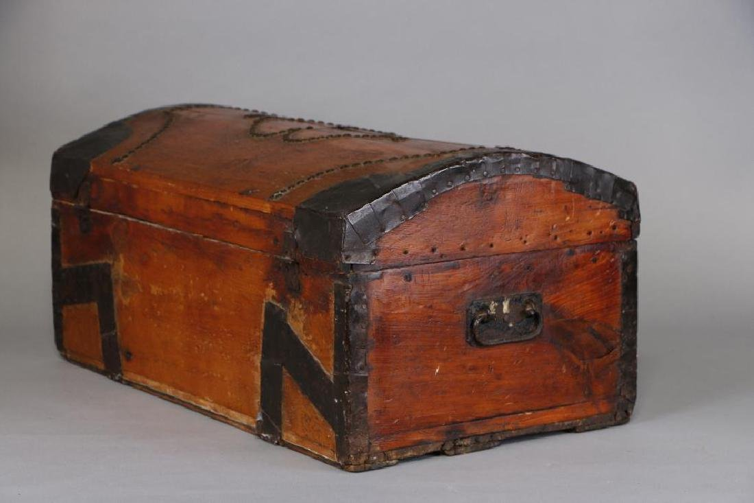 AMERICAN METAL MOUNTED & BRASS TACK DECORATED TRUNK - 7