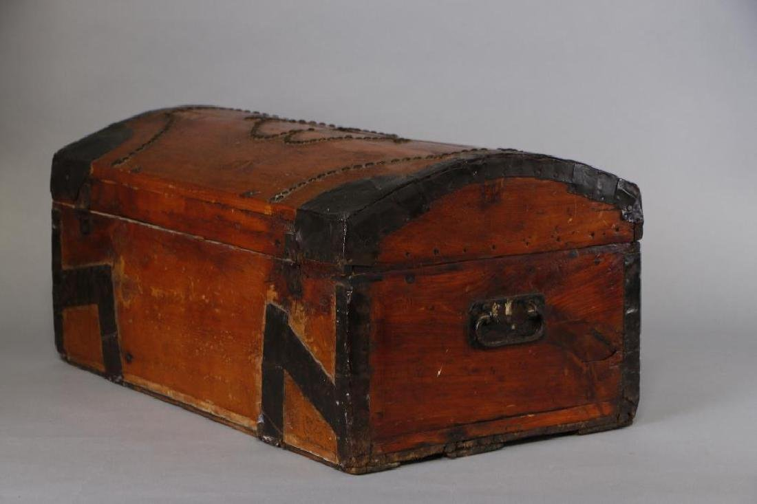 AMERICAN METAL MOUNTED & BRASS TACK DECORATED TRUNK - 8