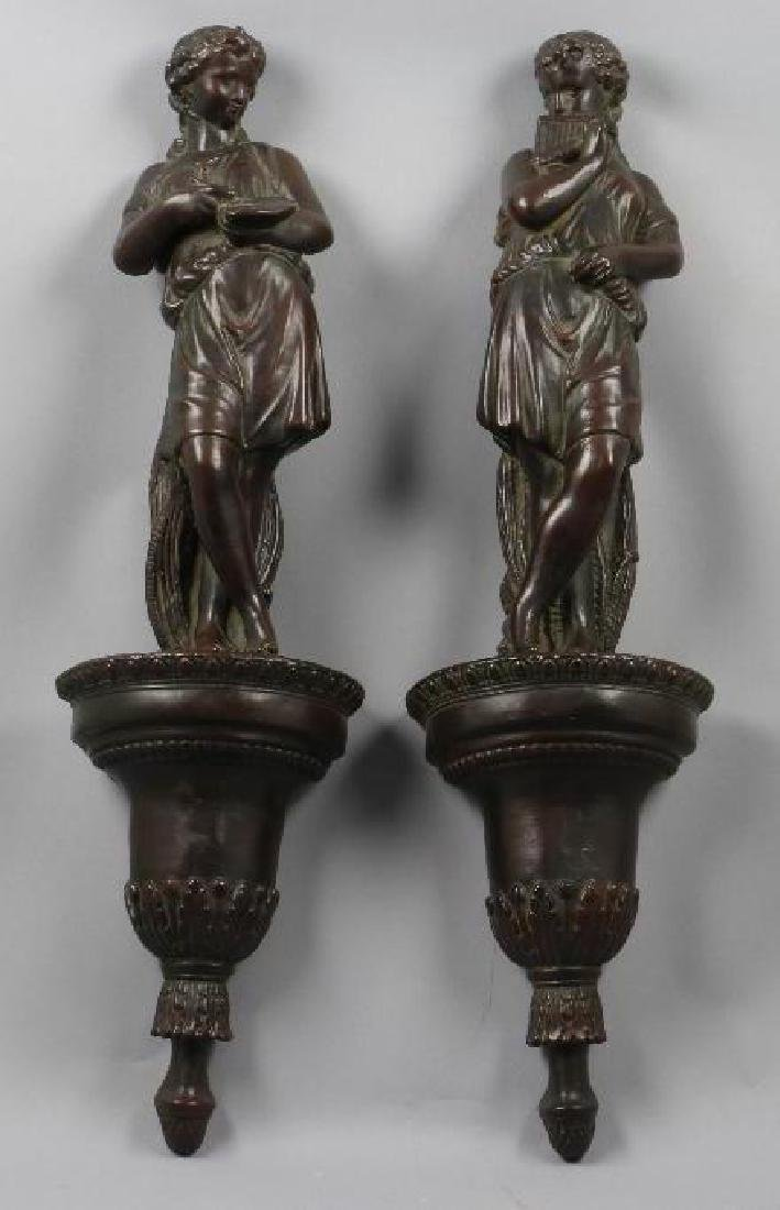 PAIR OF PAINTED COMPOSITION FIGURAL WALL BRACKETS