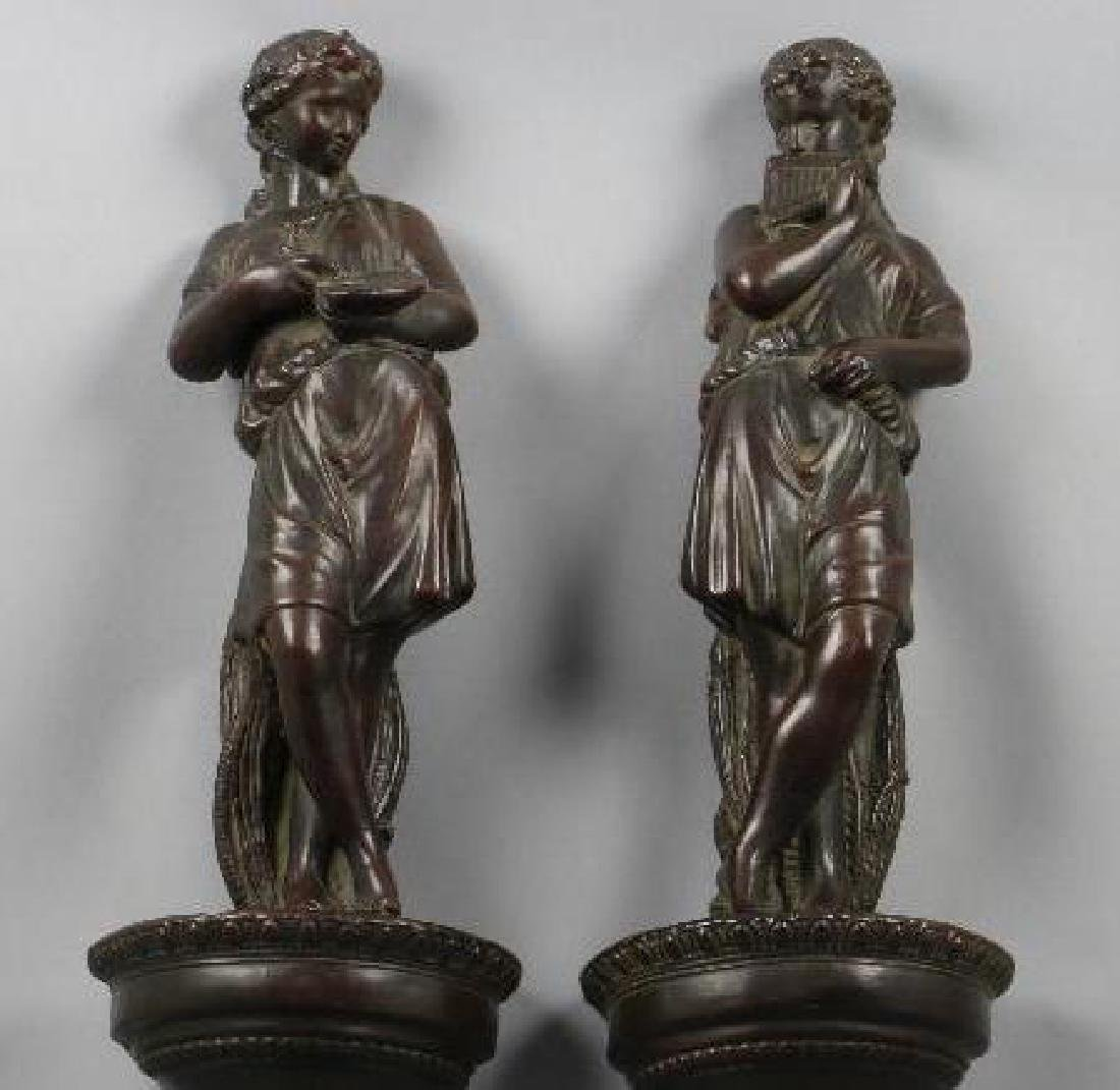 PAIR OF PAINTED COMPOSITION FIGURAL WALL BRACKETS - 2