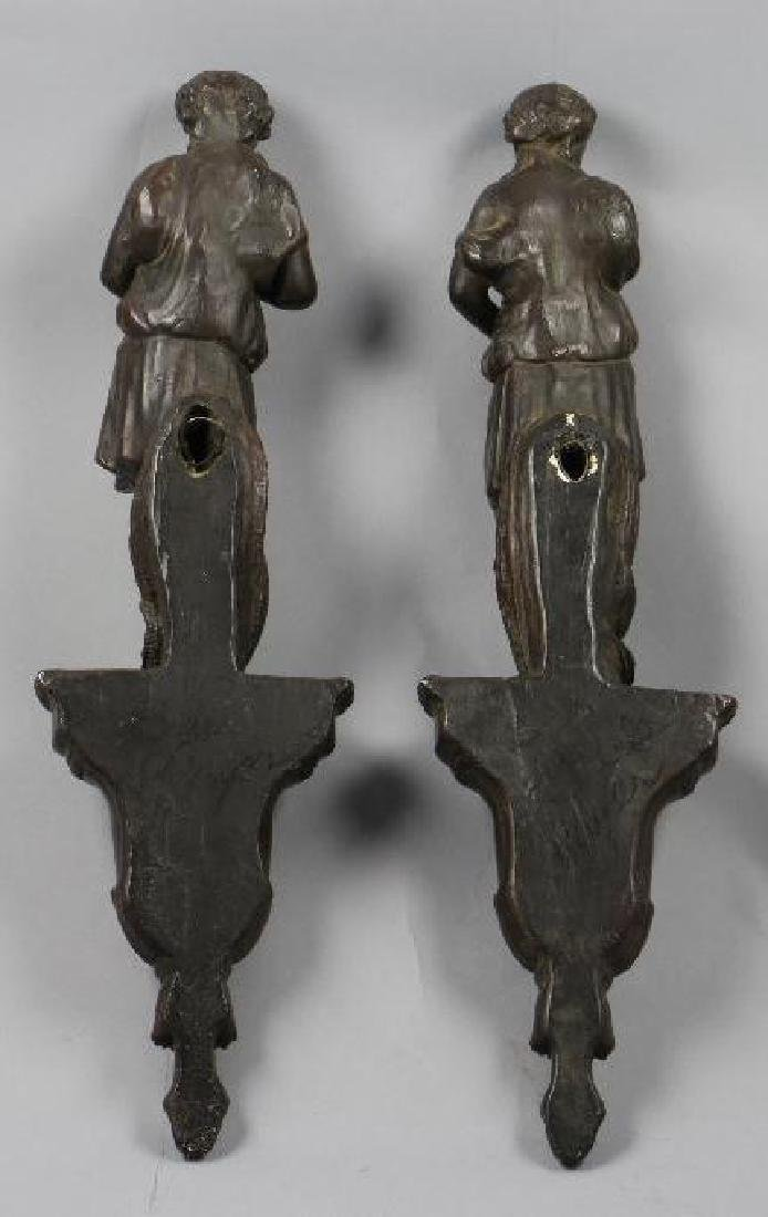 PAIR OF PAINTED COMPOSITION FIGURAL WALL BRACKETS - 3