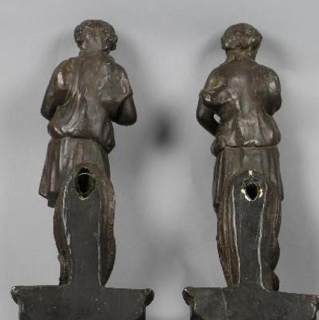 PAIR OF PAINTED COMPOSITION FIGURAL WALL BRACKETS - 4