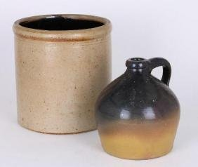 AMERICAN STONEWARE CROCK & BROWN GLAZED POTTERY JUG