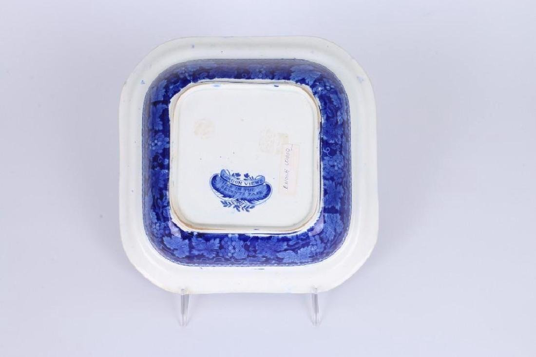WOOD STAFFORDSHIRE BLUE & WHITE TRANSFER VEGETABLE DISH - 5