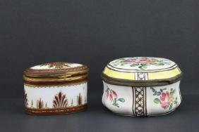 TWO SEVRES STYLE PORCELAIN BOXES/ FRENCH FAIENCE BOX