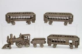 (5) Piece Cast Iron Train Floor Toy
