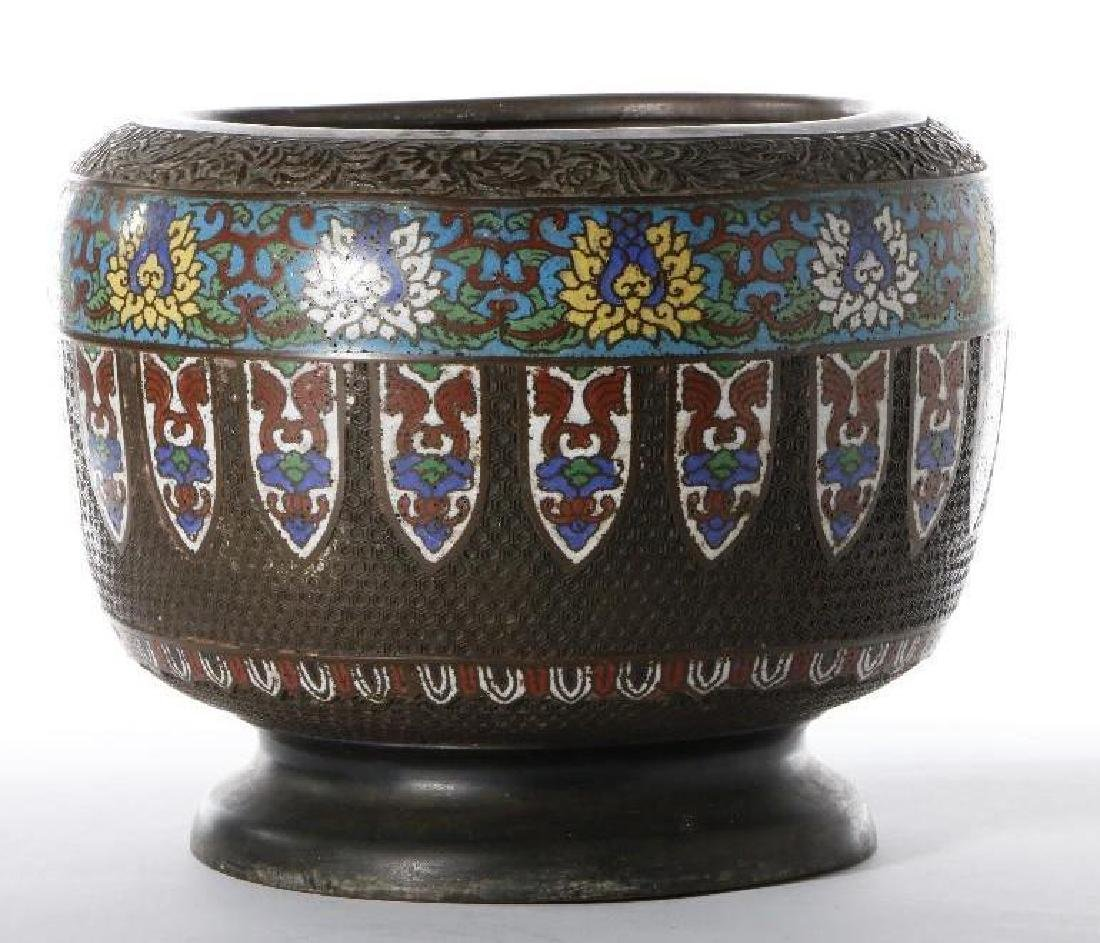 A BRONZE CLOISONNE AND CHAMPLEVE