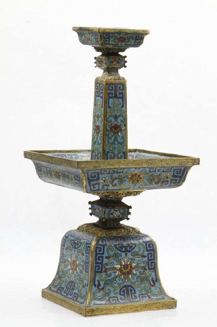 A CLOISONNE FACETED PRICKET