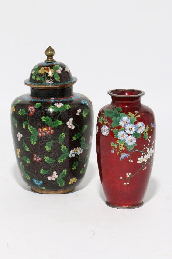 TWO ASIAN CLOISONNE VASES