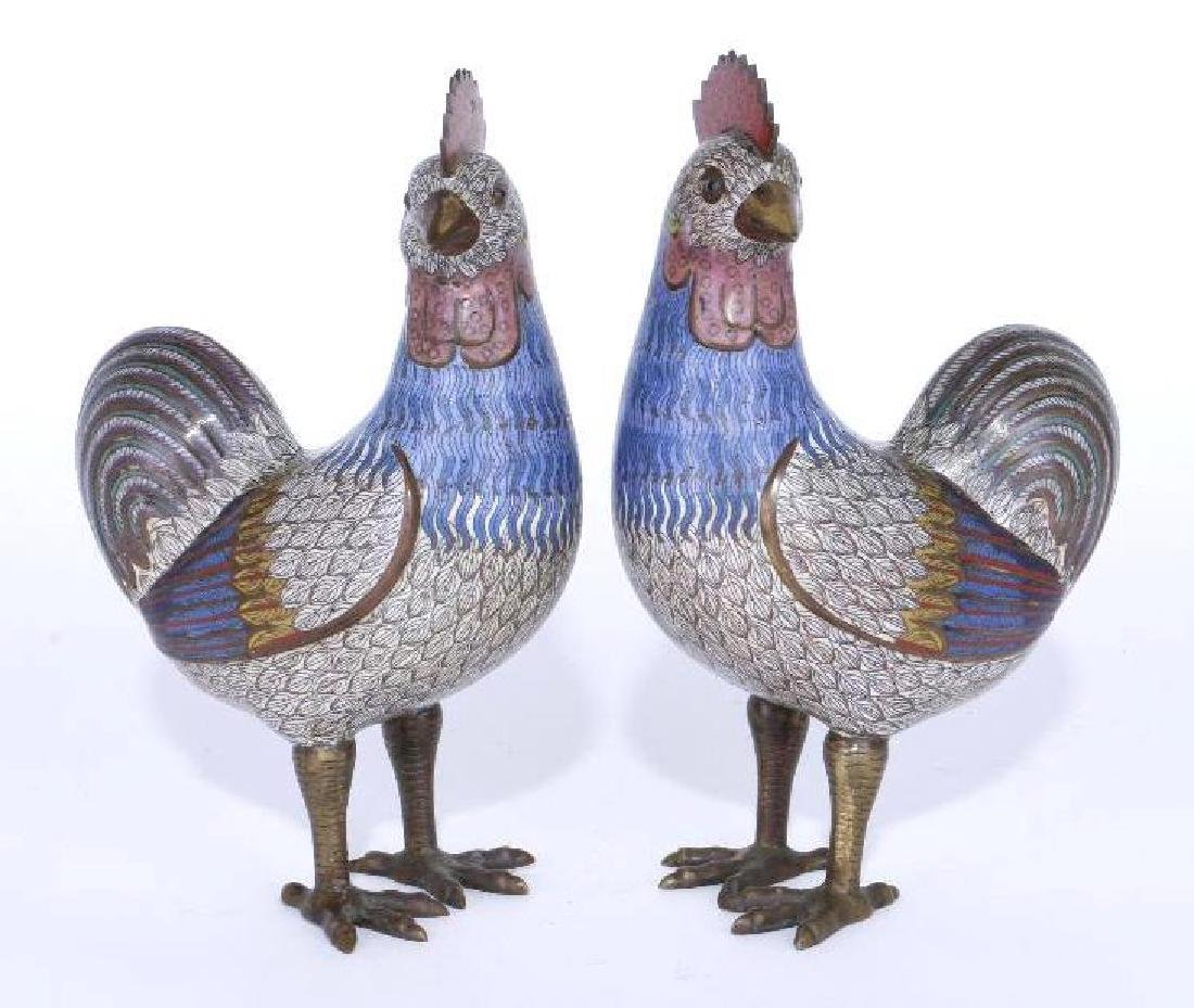 A PAIR OF CLOISONNE HENS