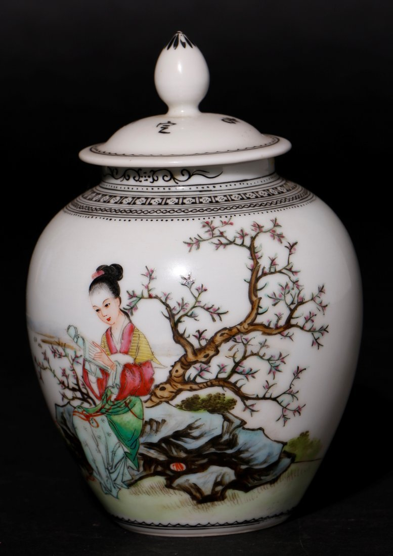 A PORCELAIN AND ENAMELED COVERED JAR